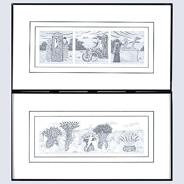 EDWARD GOREY Lot of 2 prints from PBS Mystery! Series