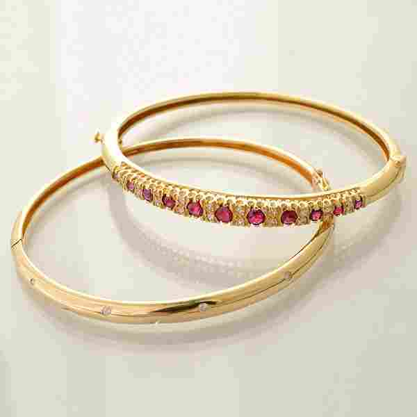 Collection of Two Ruby, Diamond, 14k Yellow Gold