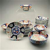 A Large Group of Japanese Imari Plates and Bowls