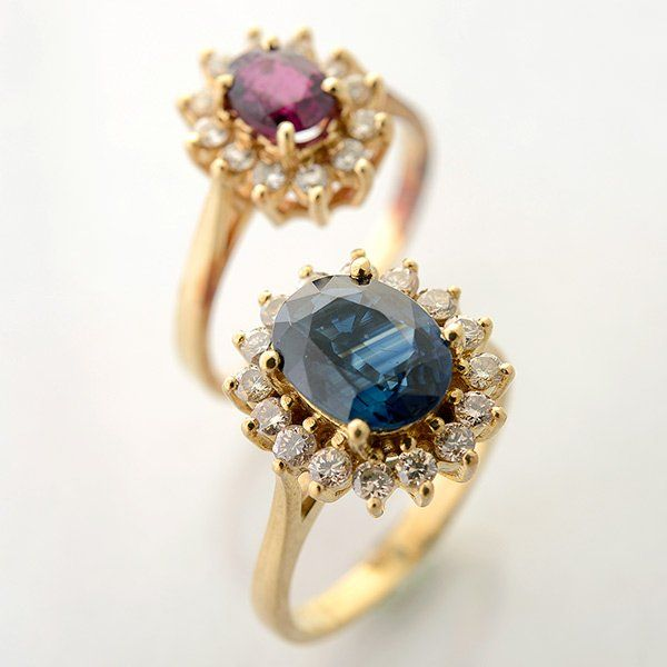 Collection of Two Sapphire, Ruby, Diamond, 14k Yellow