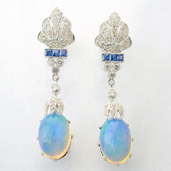 Pair of Opal, Sapphire, Diamond, 14k White Gold