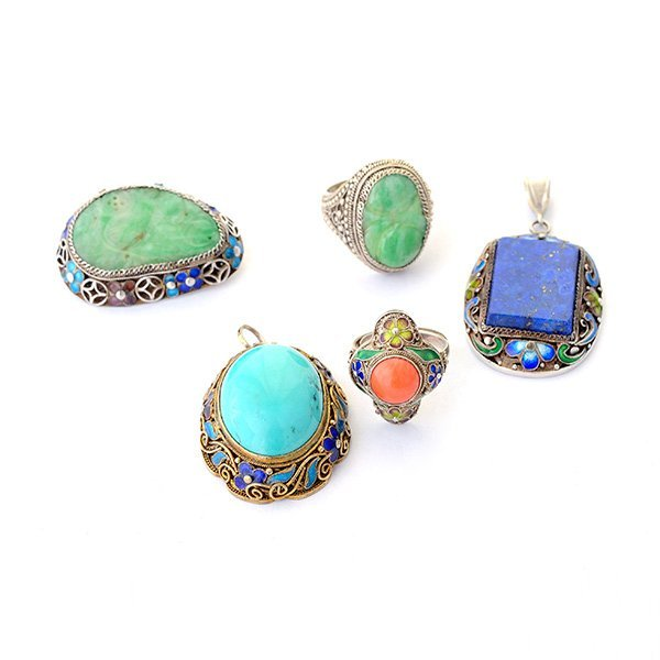 Collection of Five Asian Multi-Stone, Enamel, Silver