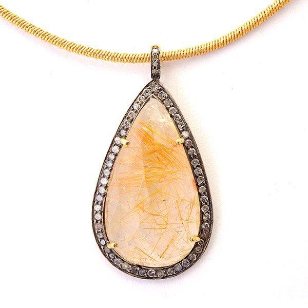 Rutilated Quartz, Silver Gilt Pendant Necklace.