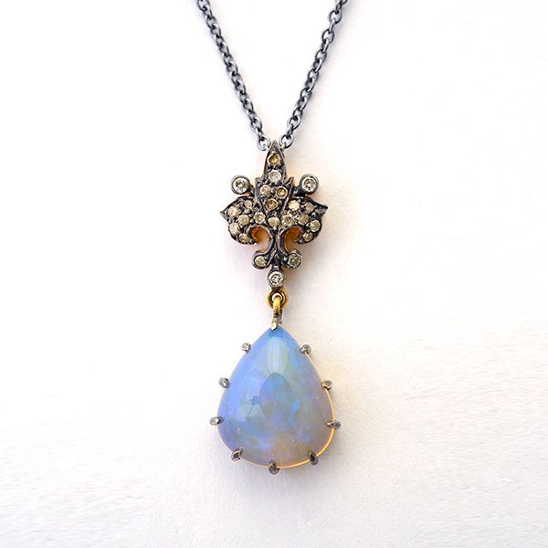 Opal, Diamond, Silver Gilt Pendant Necklace.