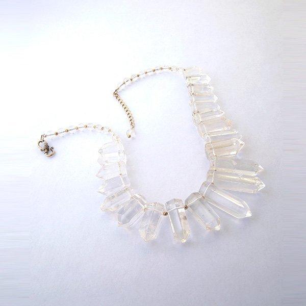 Quartz Crystal, Topaz, Sterling Silver Necklace.
