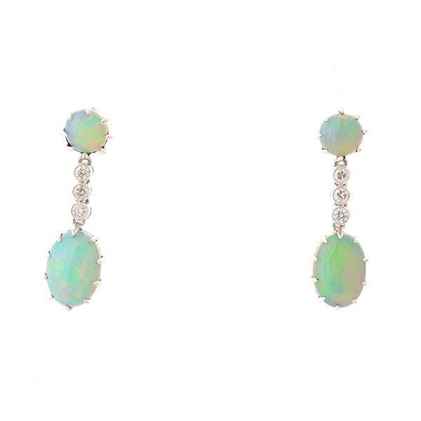 Pair of Opal, Diamond, 14k White Gold Earrings.