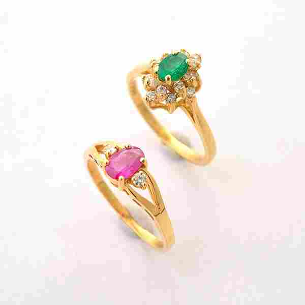 Collection of Two Ruby, Emerald, Diamond, 14k Yellow