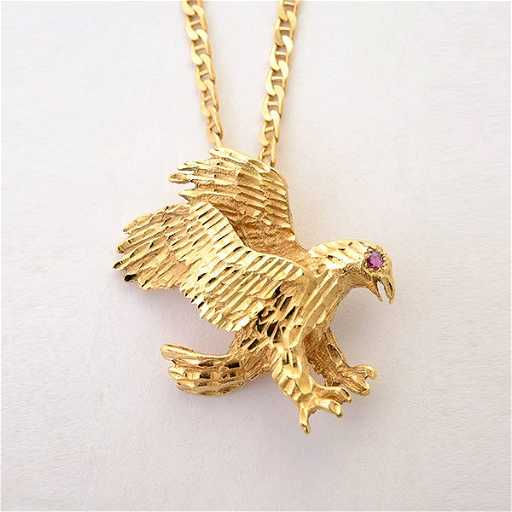 Ruby 14k yellow gold eagle pendant necklace aloadofball