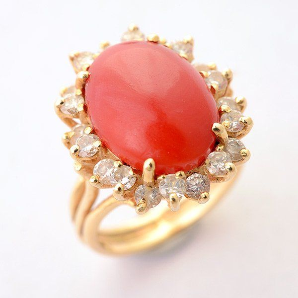 *Coral, Diamond, 14k Yellow Gold Ring.