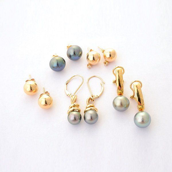 Collection of Five Pairs of Diamond, Cultured Pearl,