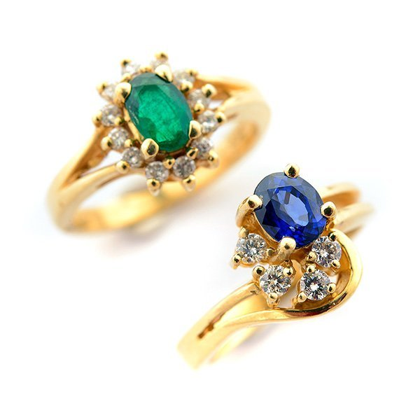 Collection of Two Emerald, Sapphire, Diamond, 14k