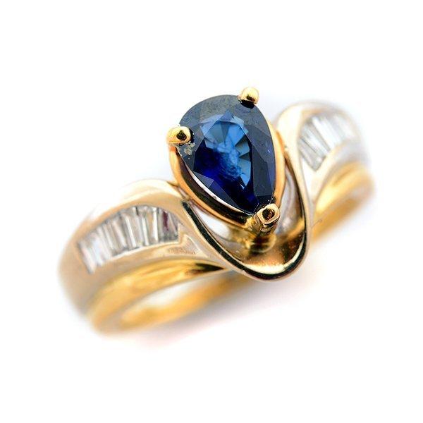 Sapphire, Diamond, 14k Yellow Gold Ring.