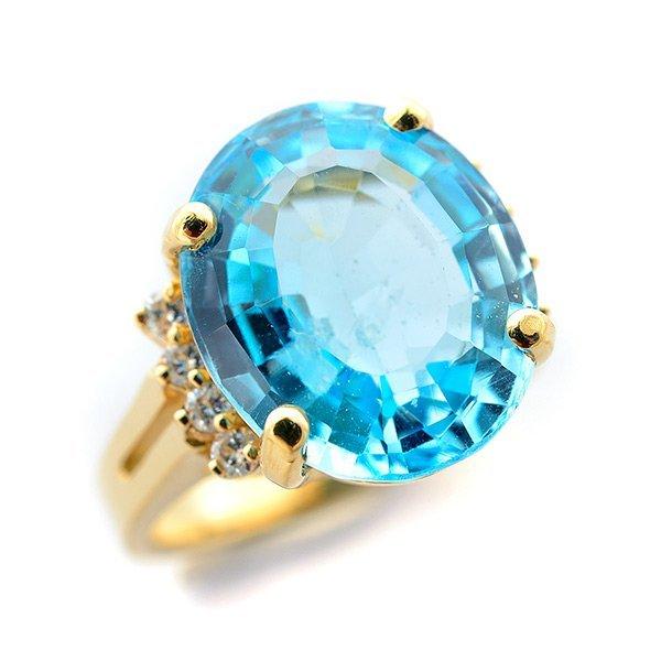 Blue Topaz, Diamond, 14k Yellow Gold Ring.