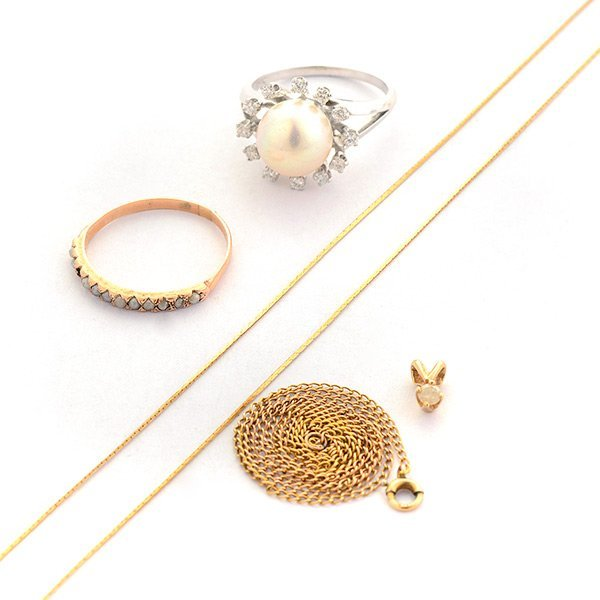 Collection of Five Cultured Pearl, Diamond, Yellow Gold