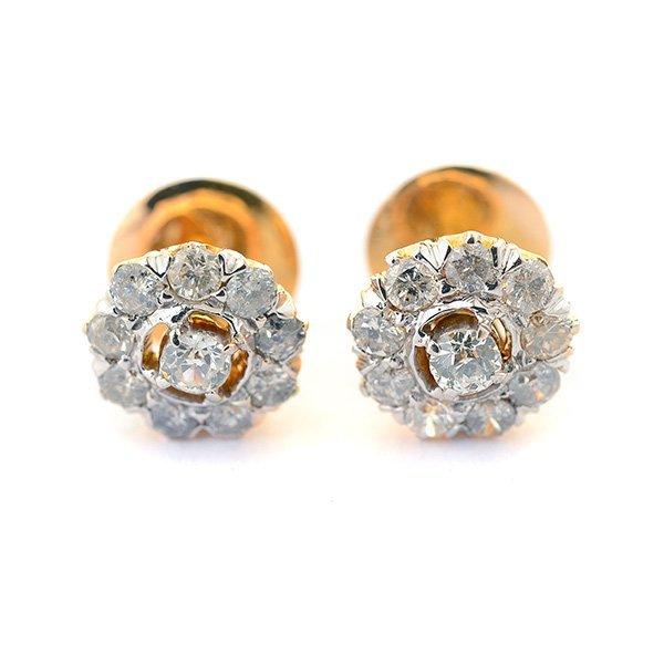 Pair of Diamond, 14k Yellow Gold Earrings.