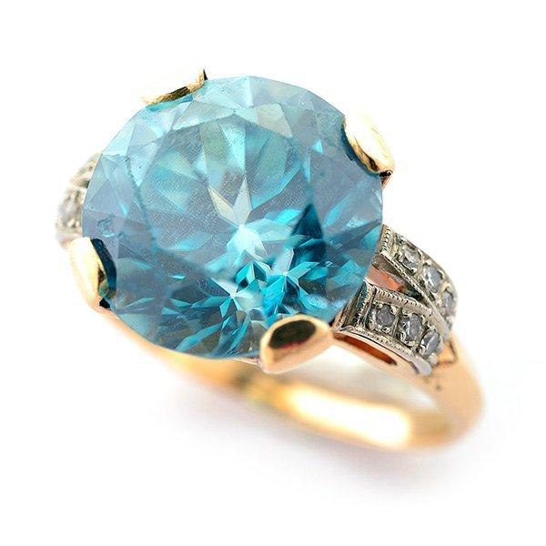 Zircon, Diamond, 14k Yellow Gold Ring.
