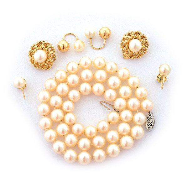 Collection of Cultured Pearl, 14k Yellow Gold Jewelry.