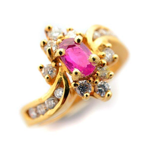 Ruby, Diamond, 14k Yellow Gold Ring.