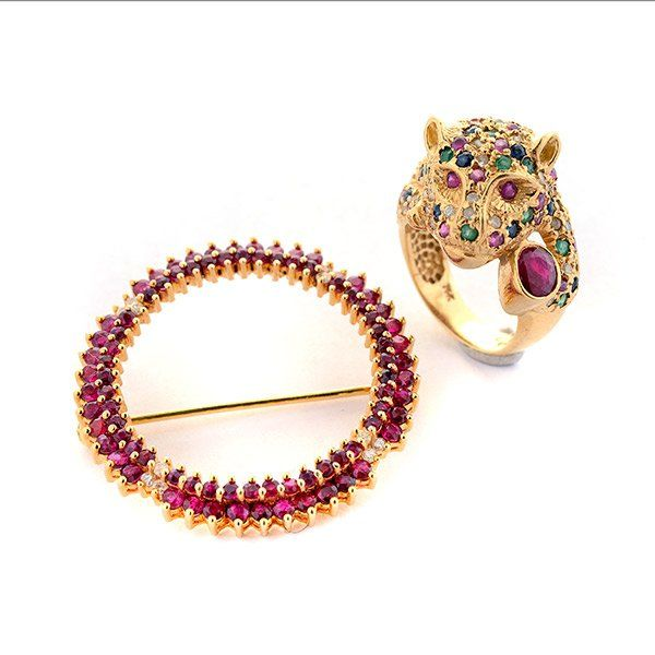 Collection of Ruby, Sapphire, Emerald, Diamond, 14k