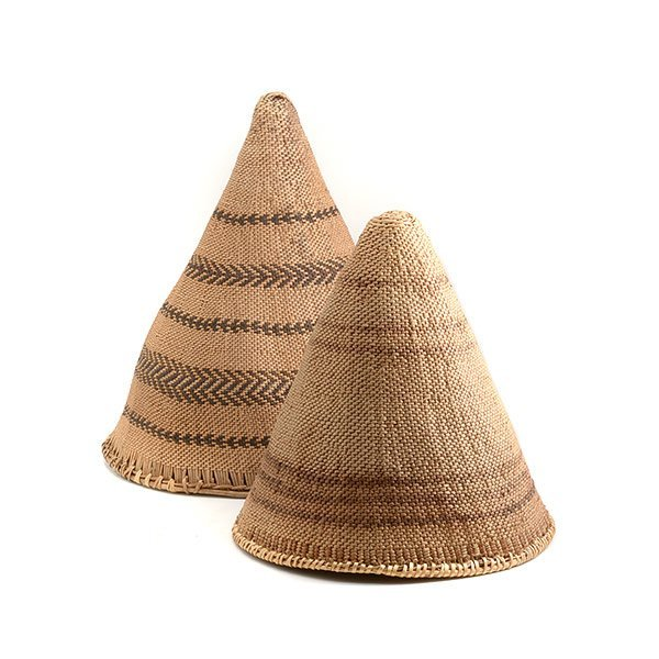 Two Inuit Conical Baskets