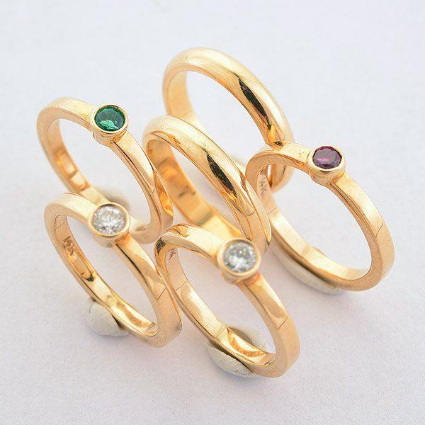 Collection of Six Diamond, Emerald, Ruby, 14k Yellow