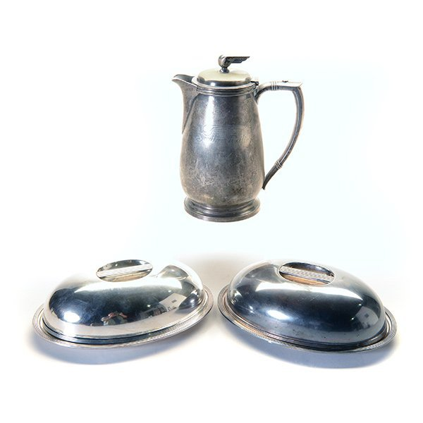 2 California Zephyr Covered Dishes & Water Pitcher.