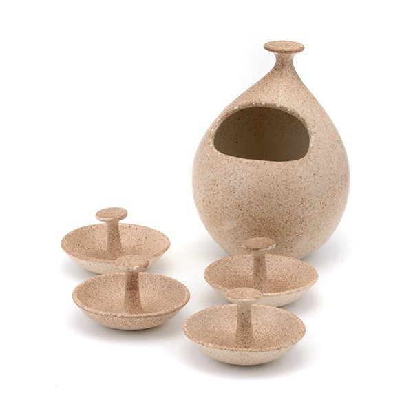Five Piece Pottery Set, Designed by Legardo Tackett.
