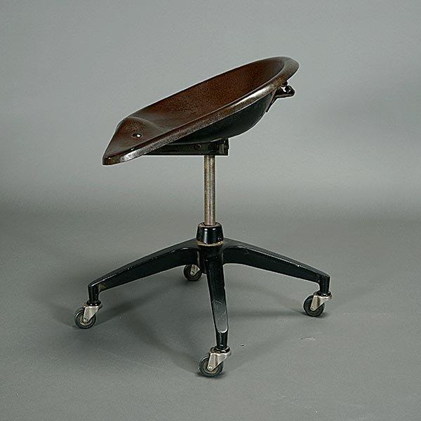 Vintage Industrial Modernist Saddle Seat Rolling Stool. - 3