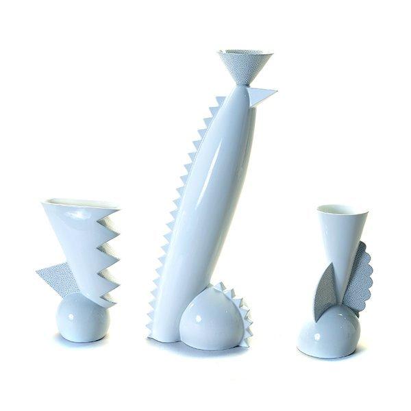 Trio Of Matteo Thun for Memphis Porcelain Vases, c.
