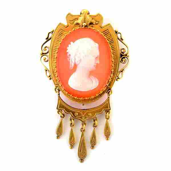 Victorian Hard Stone Cameo, 14k Yellow Gold Brooch.