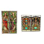 Pair German Arts  Crafts Figural Stained Glass Panels