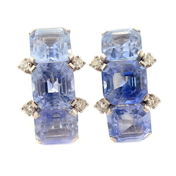 Pair of Sapphire, Diamond, 18k, 14k White Gold