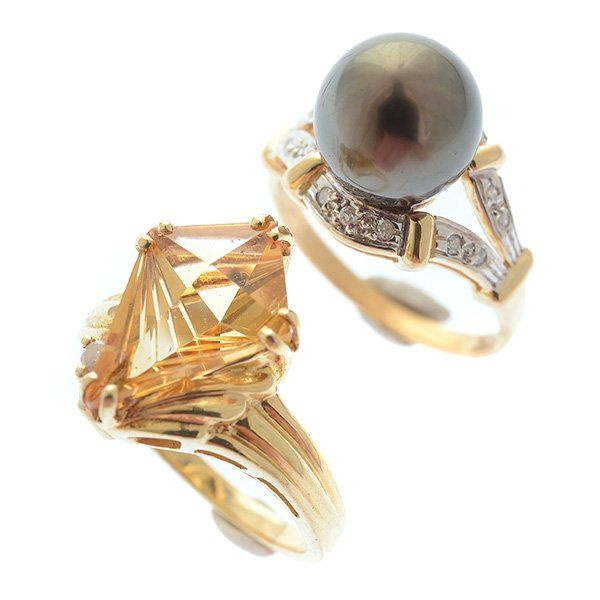 Collection of Two Cultured Pearl, Citrine, Diamond, 14k