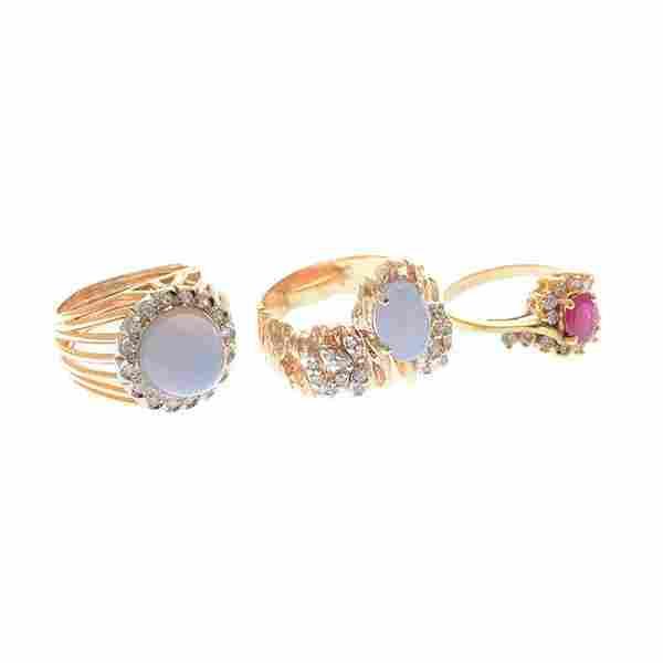 Collection of Three Multi-Stone, Diamond, Yellow Gold
