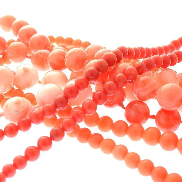 *Collection of Four Coral Bead, 12k Yellow Gold