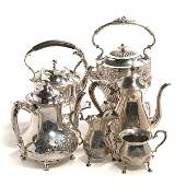 Fisher Sterling Coffee Service, Two Kettles, and Coffee