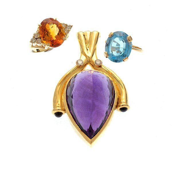 Collection of Three Multi-Stone, 18k, 14k Yellow Gold