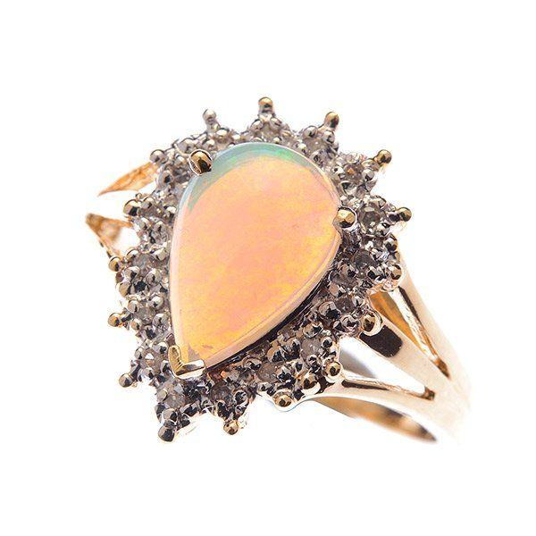 Opal, Diamond, 10k Yellow Gold Ring.