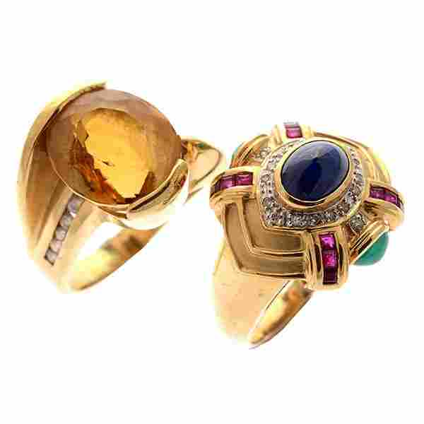 Collection of Two Multi-Stone, Diamond, 14k Yellow Gold