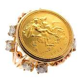 Gold Coin Form, Diamond, 14k Yellow Gold Ring.