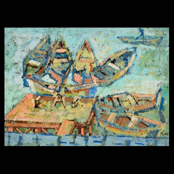 """ABRAM KROLL """"Boats in a Lake"""" Oil on board"""