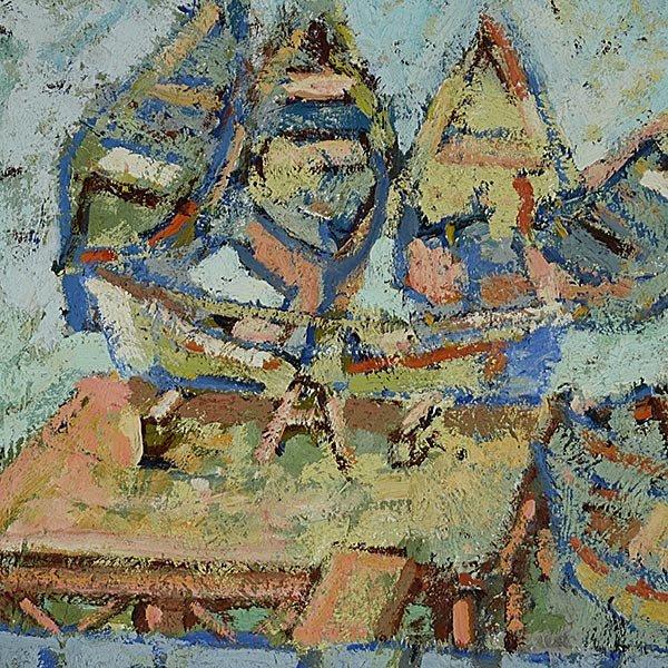 """ABRAM KROLL """"Boats in a Lake"""" Oil on board - 3"""