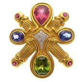 """Fouts """"Spring"""" Multi-Stone, Diamond, Yellow Gold,"""