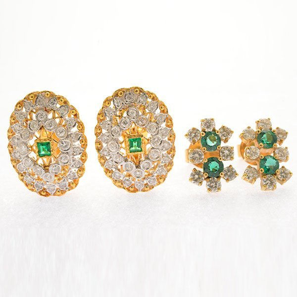 Collection of Two Pairs of Emerald, Diamond, 18k Yellow