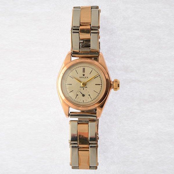 Ladies Retro Rolex Bubble Back, 18k Rose Gold,