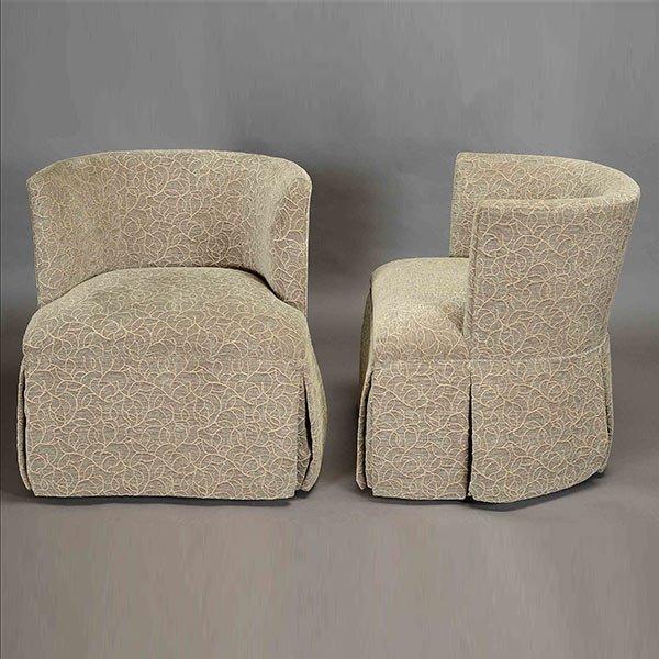 Pair of Kravet Upholstered Swivel Club Chairs