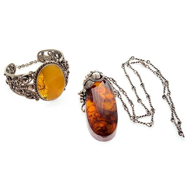 Amber, Sterling Silver , Silver Jewelry Suite.