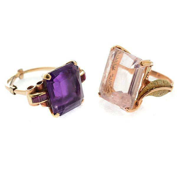 Collection of Two Morganite, Amethyst, Sapphire, 14k