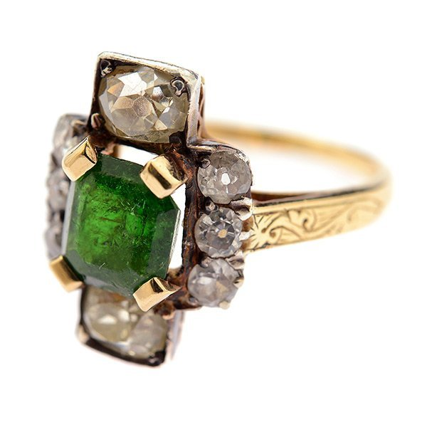 Emerald, Diamond, Silver-Topped, 14k Yellow Gold Ring.