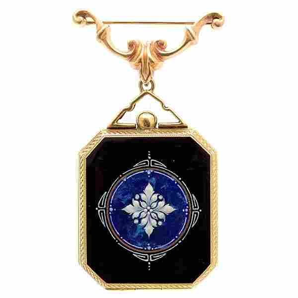 Collection of Two Enamel, 14k Gold Jewelry Items.